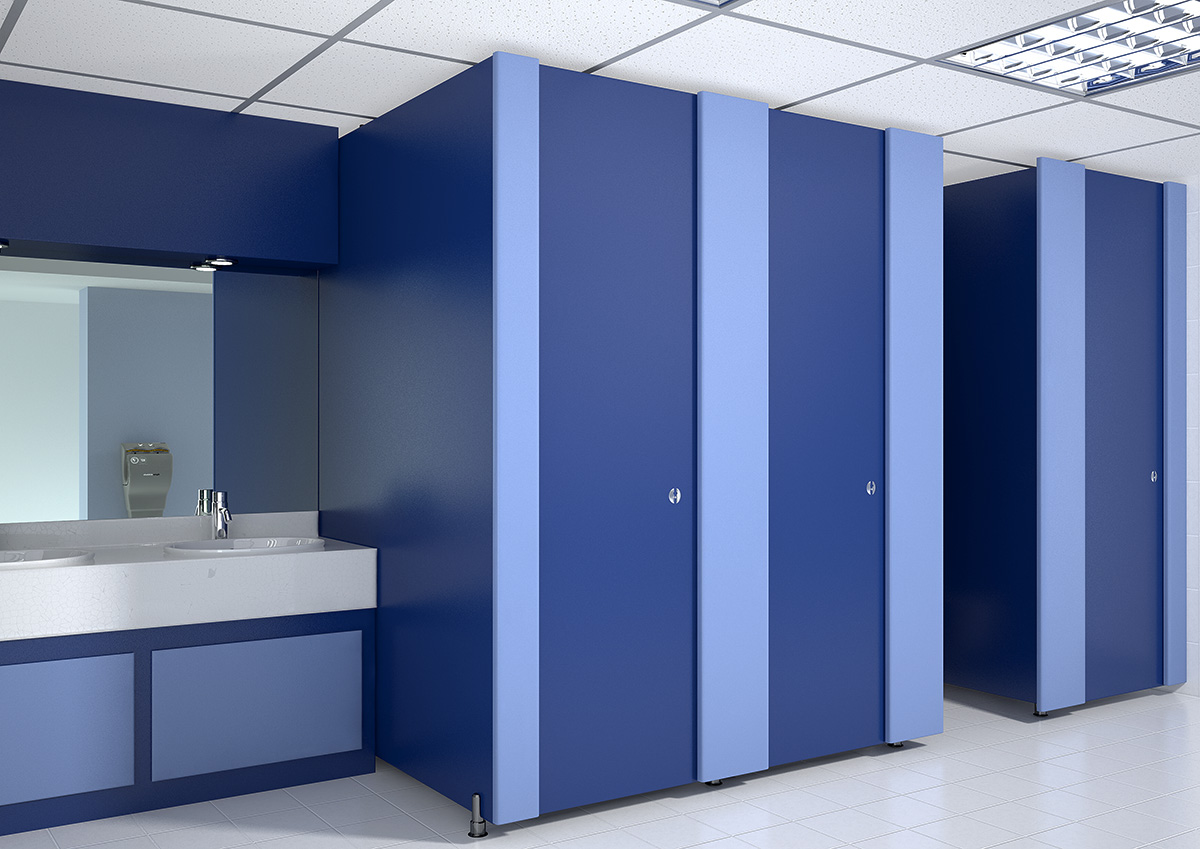 Mercury Solitude Full Height Cubicle Washroom Blue