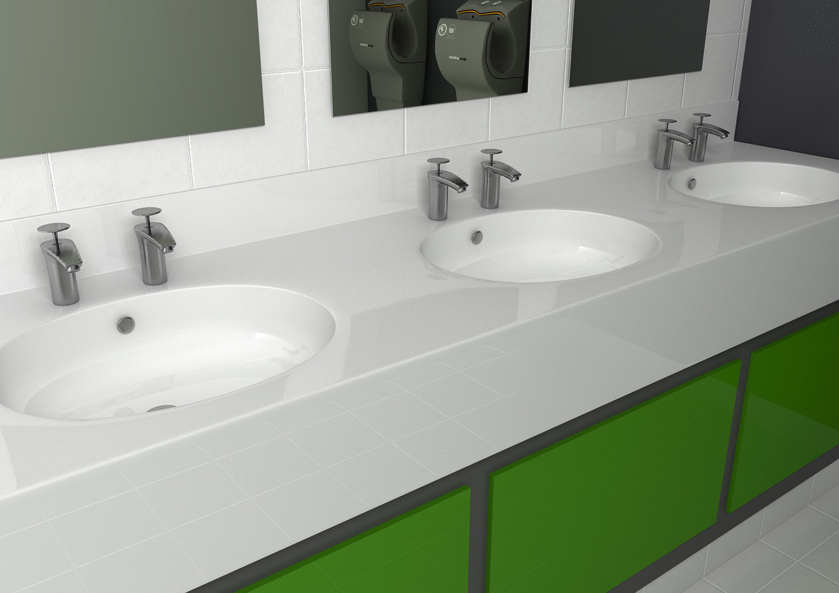 Corrian Sink Basin Worktop Counter Washroom Vanity Unit