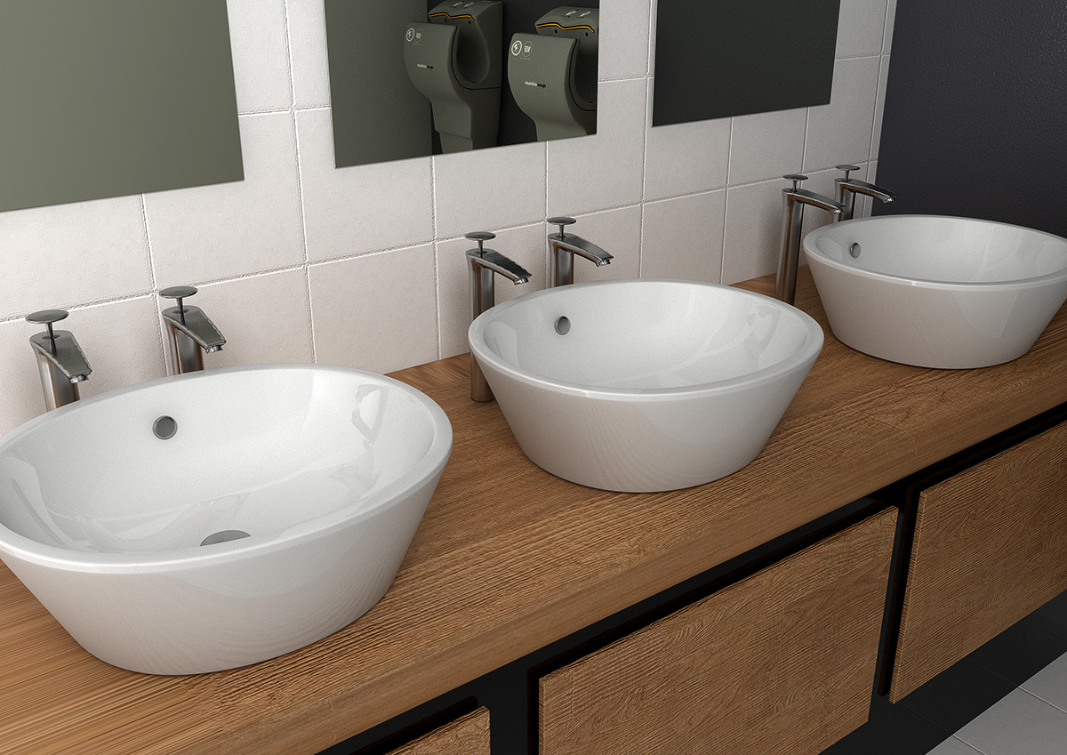 Sit On Sink Basin Worktop Counter Washroom Vanity Unit